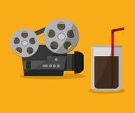 Cinema projector film portable soda straw. Vector illustration eps 10 Stock Photos