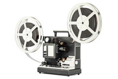 Cinema projector with movie reels, 3D rendering Royalty Free Stock Photography