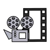 Cinema projector and movie tape icon. Vector illustration design stock illustration