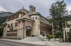 Cinema que constrói no centro da vila do d'Abondance de Chapelle Fotografia de Stock