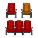Cinema Red Chairs Set Stock Image