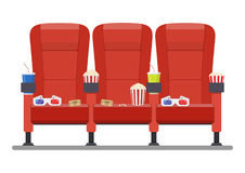 Cinema red comfortable seat Stock Image