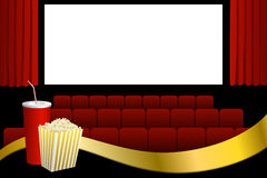 Cinema red seats white blank screen drink popcorn gold ribbon illustration Stock Photography