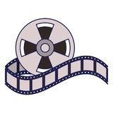 Cinema reel equipment cartoon blue lines. Cinema reel equipment cartoon vector illustration graphic design royalty free illustration