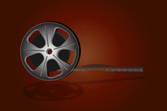 Cinema reel film. Over dark background Royalty Free Stock Photos
