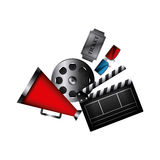 Cinema related icons Royalty Free Stock Photo