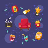 Cinema Related Objects Collection Stock Image