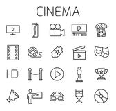 Cinema related vector icon set. Well-crafted sign in thin line style with editable stroke. Vector symbols isolated on a white background. Simple pictograms Royalty Free Stock Images