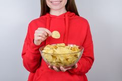 Cinema rest relax chill free time break leisure concept. Cropped closeup photo of cheerful excited glad nice person teen holding royalty free stock photos