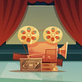 Cinema Retro Cartoon Illustration Royalty Free Stock Photos