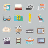 Cinema retro flat icons set. Movie theater cinema entrance retro tickets and 3d polarized glasses flat icons collection  abstract isolated vector illustration Royalty Free Stock Photos