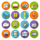 Cinema retro flat round icons set Stock Images