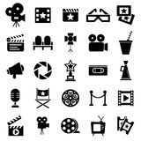 Cinema retro icons set. Cinema retro movies icons set. Template vector concept Royalty Free Stock Photography
