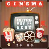 Cinema Retro Movies Festival Announcement Poster. Retro movies festival announcement poster with old tv  3d glasses and classic cinema theater attributes vector Stock Photo