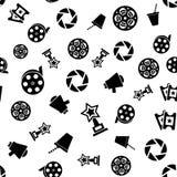 Cinema retro movies icons seamless pattern. Tiling ornament. Vector illustration Stock Photos