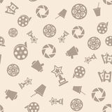 Cinema retro movies icons seamless pattern. Tiling ornament. Vector illustration Royalty Free Stock Photos