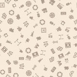 Cinema retro movies icons seamless pattern. Tiling ornament. Vector illustration Stock Images