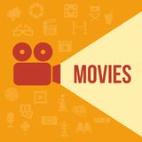 Cinema retro projector. Highlights word movies. Template vector concept Stock Photos