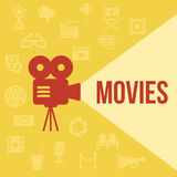 Cinema retro projector. Highlights word movies. Template vector concept Royalty Free Stock Images