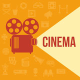 Cinema retro projector. Highlights word cinema. Template vector concept Stock Photography