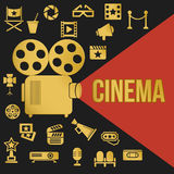 Cinema Retro Video Projector with Spotlight. Movies Retro Video Projector with Spotlight. Film Projector Highlights Word Cinema. Template vector concept with Royalty Free Stock Images