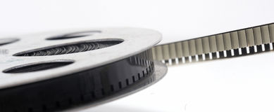 Cinema roll film. On a white background royalty free stock images