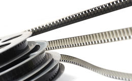 Cinema roll film. On a white background royalty free stock photography