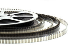 Cinema roll film. On a white background stock photos