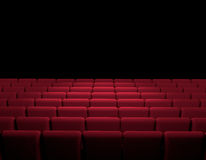 Cinema room with red armchairs, movie, cinema, screen, movie presentation. 3d rendering Royalty Free Stock Photo