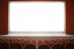 Cinema rosso con lo schermo in bianco Immagine Stock