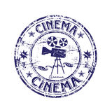 Cinema rubber stamp. Abstract grunge rubber stamp with old movie camera shape and the word cinema written inside the stamp Stock Image