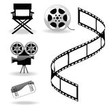 Cinema's icons. Five black silhouettes of different cinema's icons Royalty Free Stock Photos