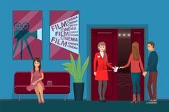 Cinema Salão, trabalhador do teatro de filmes e visores ilustração royalty free