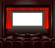 Cinema screen. A blank cinema screen lighting up a dark movie theatre for you to place what you like on. Shading by blends not mesh stock illustration