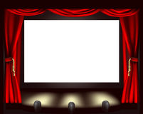 Cinema screen. Illustration of cinema screen, lights and curtain Royalty Free Stock Images