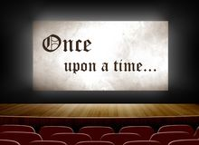 Cinema screen with once upon a time. On screen stock illustration