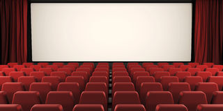 Cinema screen with open curtain. 3d. Cinema screen with open curtain. 3d render image Stock Image