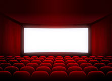 Cinema screen in red audience. Cinema blank screen for movie presentation Stock Image