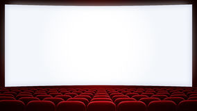 Cinema screen with red seats backgound (aspect. Cinema theatre screen with red seats backgound (aspect ratio 16:9 vector illustration