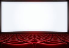 Cinema screen with red seats backgound 3d illustration. Cinema theatre screen with red seats backgound Stock Photography
