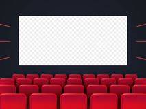 Cinema screen with red seats. Movie premiere poster design. Vector background vector illustration