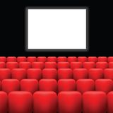 Cinema screen  and red seats Stock Image