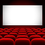 Cinema screen and red seats vector background Royalty Free Stock Photo