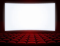 Cinema screen with seats. Cinema screen with red seats Stock Photo
