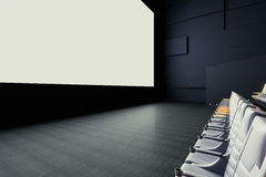 Cinema screen and seats side. Side view of blank white cinema screen and seats. Mock up, 3D Rendering Royalty Free Stock Images