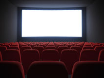 Cinema screen with seats. White cinema screen with seats. 3d render royalty free illustration