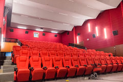 The cinema screens. 3D movie theater containing multi-channel surround system Royalty Free Stock Photography