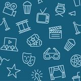 Cinema seamless background with line icons. Seamless background with Cinema Related Vector Line Icons Stock Photo