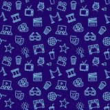 Cinema seamless background with line icons. Seamless background with Cinema Related Vector Line Icons Stock Photography