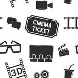 Cinema seamless background. Movie theater symbols, black and white. Vector illustration Royalty Free Stock Photos
